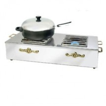 Eastern Tabletop 3267G Double Butane Stove Cover Up with Brass Accents