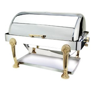 Eastern Tabletop 3404SD Seashell Rectangular Rolltop Chafer with Brass Accents 8 Qt.