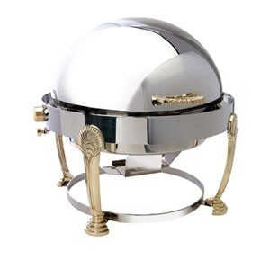 Eastern Tabletop 3408SD Seashell Round Rolltop Chafer with Brass Accents 8 Qt.