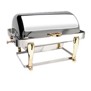 Eastern Tabletop 3604FS Freedom Rectangular Rolltop Chafer with Brass Accents 8 Qt.