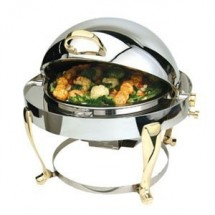 Eastern Tabletop 3610FS Freedom Round Rolltop Chafer with Brass Accents 6 Qt.