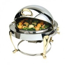 Eastern Tabletop 3615FS Freedom Round Chafer with Brass Accents 4 Qt.