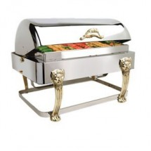 Eastern Tabletop 3704LH Lion Head Rectangular Rolltop Chafer with Brass Accents 8 Qt.
