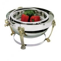 Eastern Tabletop 3708LH Lion Head Round Rolltop Chafer with Brass Accents 8 Qt.
