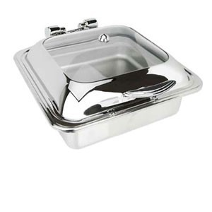 Eastern Tabletop 3904-G Square Glass Top Induction Chafer 6 Qt.