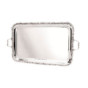 "Eastern Tabletop 4331 Silver 22.5"" x 15"" Rectangular Tray with Floral Border"