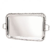 "Eastern Tabletop 4332 Silver 26.5"" x 17"" Rectangular Tray with Floral Border"