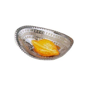 """Eastern Tabletop 9325 Stainless Steel Oval Lace Bread Tray 10"""""""