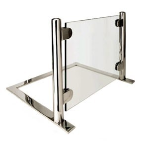 Eastern Tabletop 9660 Heavy Duty Tempered Glass Sneeze Guard with Chrome Finish