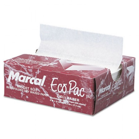 Eco-Pac Interfolded Dry Wax Paper, 6 x 10 3/4, White,6000/Carton