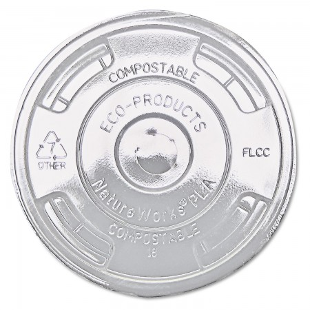 Eco-Products Compostable Clear, Flat Cold Drink Cup Lids Fits 9 - 24 oz Cups 1000/Carton