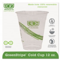 Eco-Products GreenStripe Cold Drink Cups, 12 oz., 1000/Carton
