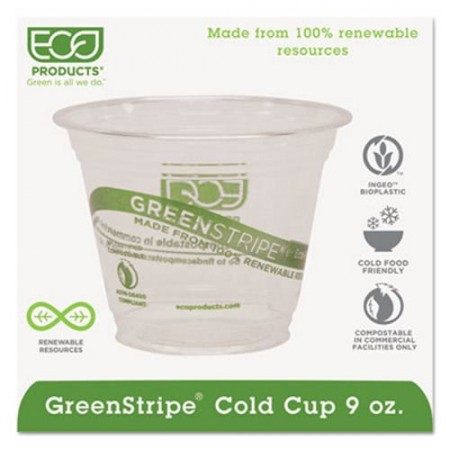 Eco-Products GreenStripe Renewable Cold Cups, 9 oz. 1000/Carton