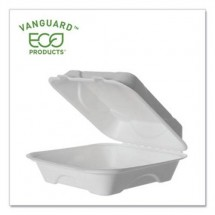 """Eco-Products Vanguard Renewable and Compostable Sugarcane Clamshells, 1-Compartment, 8"""" W x 8"""" D x 3"""" H, 500/Carton"""