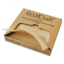 EcoCraft Grease-Resistant Paper Wraps and Liners, Natural, 12 x 12, 5000/Carton