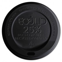 Eco-Products EcoLid 25% Recycled Content Black Hot Cup Lid, Fits 10-20 oz. Cups, 1000/Carton