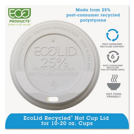 Eco-Products EcoLid 25% Recycled Content Hot Cup Lid, White, Fits 10 oz to 20 oz Cups, 1000/Carton