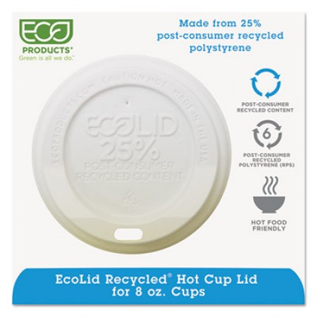 Eco-Products EcoLid 25% Recy Content Hot Cup Lid, White, Fits 8 oz. Hot Cups, 1000/Carton