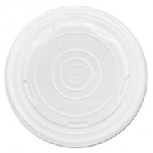 Eco-Products World Art PLA-Laminated White Soup Container Lids fits 12 oz.,16 oz,, 32 oz. Food Containers, 500/Carton