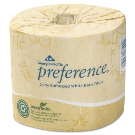 Preference Embossed 2-Ply Bathroom Tissue, 550 Sheets/Roll, 80 Rolls/Carton