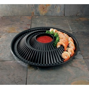 Emi Yoshi EMI-115 Black Plastic Shrimp Ring Platter / Dome - 12 sets