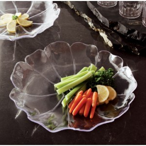 "Emi Yoshi EMI-121 Clear Plastic Shallow Flower Bowl 12"" - 24 pcs"
