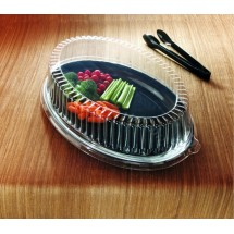 "Emi Yoshi EMI-1421LP Clear Plastic Oval Lid (PET) 14"" x 21"" - 40 pcs"