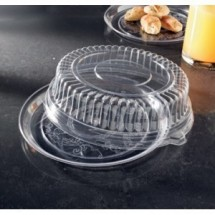 "Emi Yoshi EMI-220CPP Round Plastic Deli Mate Tray / Dome Lid (PET) 12"" - 25 sets"