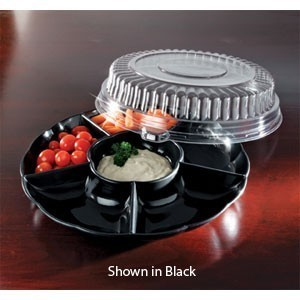 "Emi Yoshi EMI-301CP Round Plastic 6 Compartment Tray / Dome Lid 12"" - 12 sets"