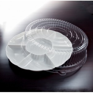 "Emi Yoshi EMI-302CP Round Plastic 7 -Compartment Tray / Dome Lid 16"" - 12 sets"