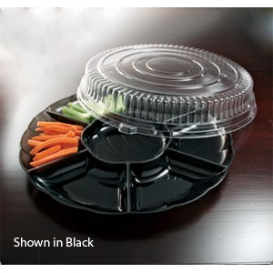 "Emi Yoshi EMI-303CP Round Plastic 7 Compartment Tray / Dome Lid 18"" - 12 sets"