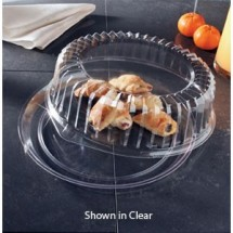 "Emi Yoshi EMI-540CPP Round Black Plastic Deli Max Tray / Dome Lid (PET) 14"" - 25 sets"