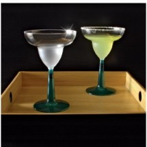 Emi Yoshi EMI-MGG12GR Clear Plastic Margarita Glass With Green Base 12 oz. - 8 doz