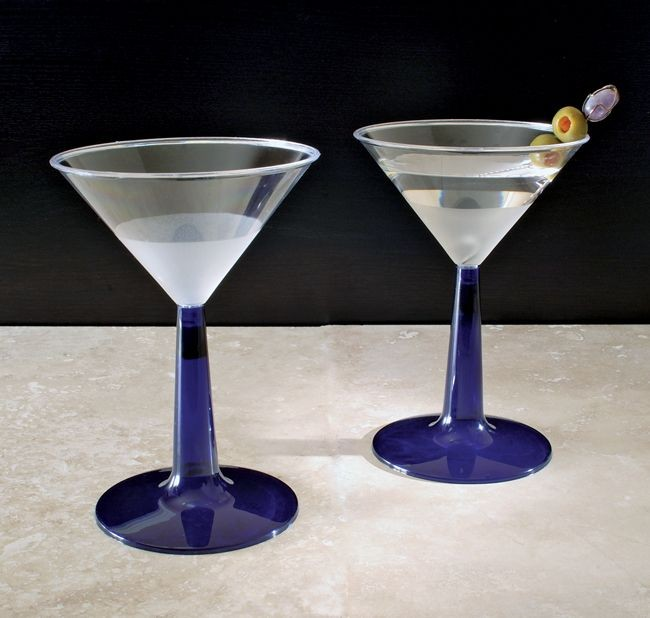 Emi Yoshi EMI-MTG6BL Clear Plastic Martini Glass With Blue Base 6 oz. - 8 doz