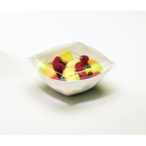 Emi Yoshi EMI-SB16LP PET Square Clear Plastic Serving Bowl Lid 16 oz. - 100 pcs