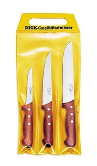 F. Dick 8155300 Set of 3 Wood Handle Butcher Knives