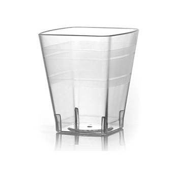 Fineline Settings 1102CL 2 oz. Wavetrends Clear Square Plastic Shot Glass - 36 doz
