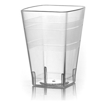 Fineline Settings 1110 Wavetrends Clear Square Plastic Tumbler 10 oz. - 14 doz