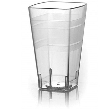 Fineline Settings 1114CL 14 oz. Wavetrends Clear Square Plastic Tumbler - 14 doz