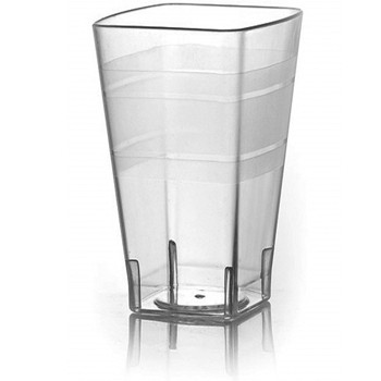 Fineline Settings 1116 16 oz. Wavetrends Clear Square Plastic Tumbler - 14 doz