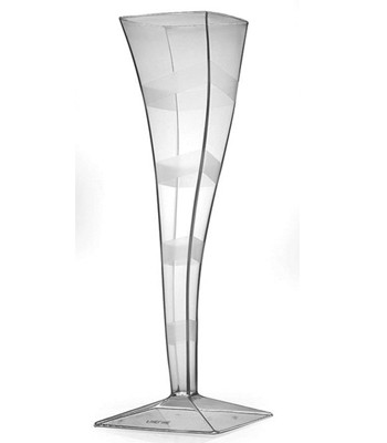 Fineline Settings 1205CL  5 oz. Wavetrends Clear Square One Piece Champagne Flute - 6 doz
