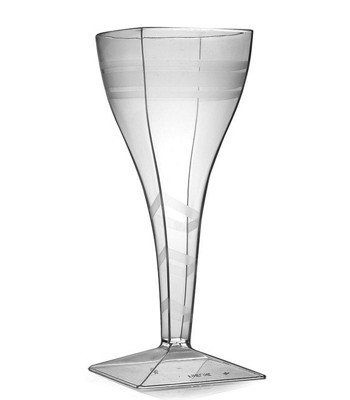 Fineline Settings 1208CL  8 oz. Wavetrends Clear Square Plastic Wine Glass - 6 doz