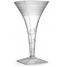 Fineline Settings 1209CL  8 oz. Wavetrends Clear Square Plastic Martini Glass - 6 doz