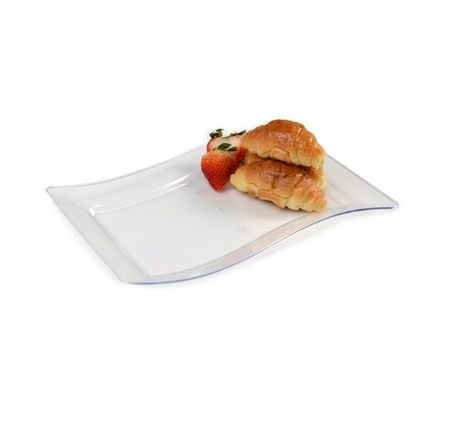 "Fineline Settings 1406 Wavetrends Rectangular Plastic Salad Plate 6-1/2"" x 10"" - 10 doz"