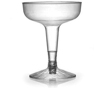 Fineline Settings 2104 Flairware Clear Old Fashioned Plastic 2-Piece Champagne Glass 4 oz. - 30 doz