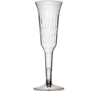 Fineline Settings 2105  5 oz. Flairware Clear Plastic Champagne Flute - 10 doz