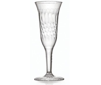 Fineline Settings 2106 5 oz. Flairware Clear Plastic Champagne Flute - 8 doz