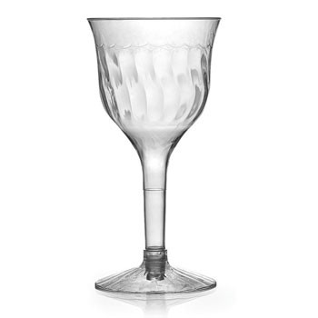 Fineline Settings 2207  6 oz. Flairware Clear Plastic Wine Goblet  - 10 doz