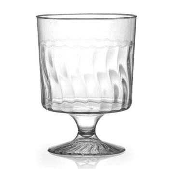 Fineline Settings 2208  8 oz. Flairware Clear Plastic Wine Glass - 20 doz