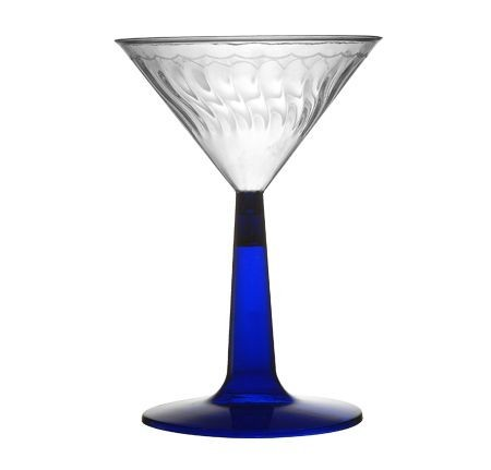 Fineline Settings 2306-BL Flairware Plastic Martini Glass with Blue Base 6 oz. - 8 doz